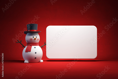 happy snowman and blank poster
