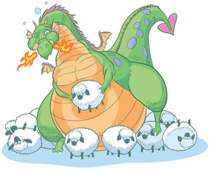 overeating fat cartoon dragon with clueless sheep