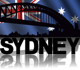 Sydney skyline text with rippled Australian flag illustration