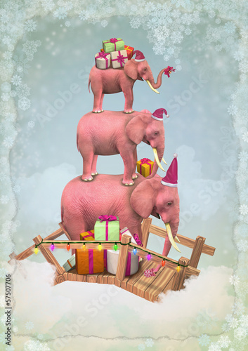 Three Christmas pink elephants in the sky with gifts