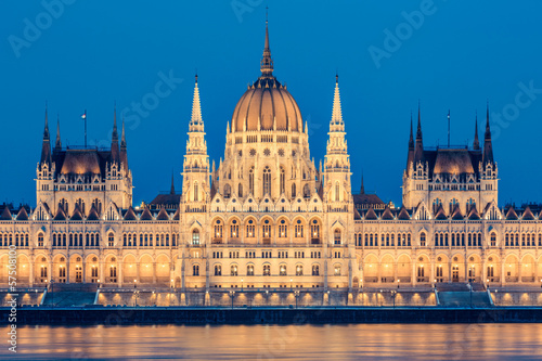 Parliament and Danau in Budapest at Twilight
