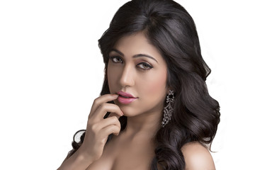 Indian young pretty girl beauty shot in studio light.