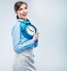 Business time concept woman portrait. Young business model show
