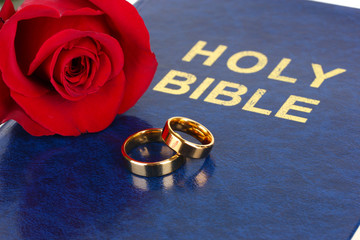 Wedding rings with rose on bible