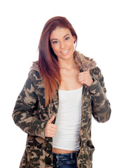 Attractive girl with military style jacket