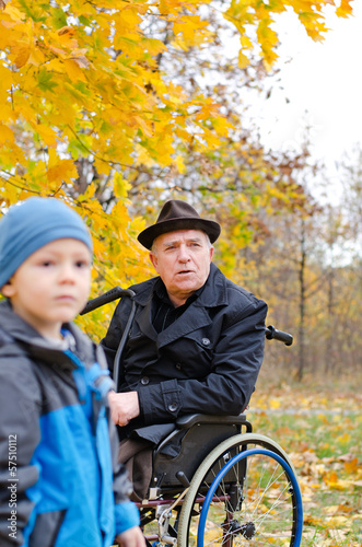 Disabled grandfather and grandchild