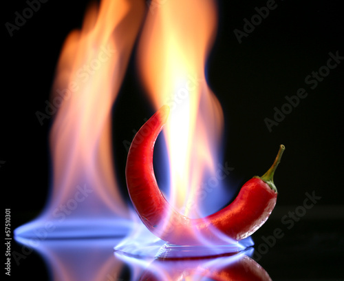 Red hot chili pepper on fire, isolated on   black