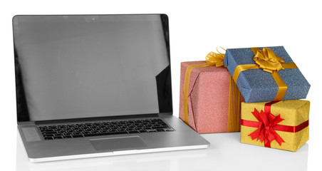 Modern notebook and gift boxes, isolated on white