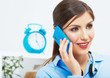 Smiling business woman on phone at office. Close up female port