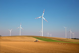 Wind turbine and autumn fields in east Austria