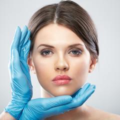 Beauty Woman face surgery close up portrait.