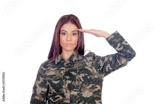 Attractive soldier giving a military salute