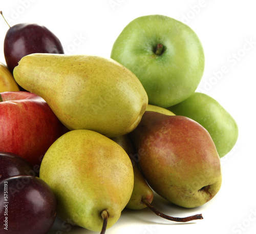 Pears with apples and plums isolated on white