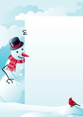 vector christmas card with snowman and bullfinch