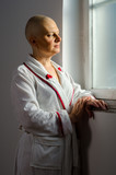 Bald woman with cancer in the hospital