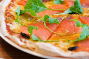 Pizza with Mozzarella, Salmon Slice