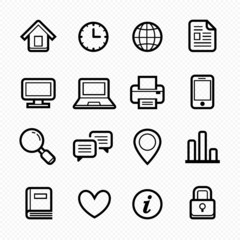 Office elements symbol line icon set on white background