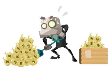 businessRobot_dig money