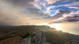 4K. Timelapse sunrise in the mountains Ai-Petri. Alupka, Crimea,