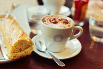 Traditional french breakfast with coffee and bread