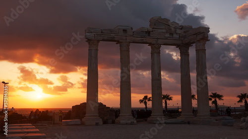 Ancient ruins of Roman Empire at sunset. Time Lapse.