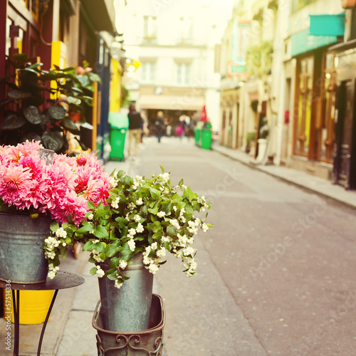 Flowers on street of Paris, France