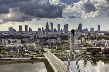 Warsaw skyline behind the bridge