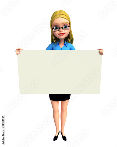 Young girl with sign
