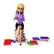 Young girl sitting on the pile of books