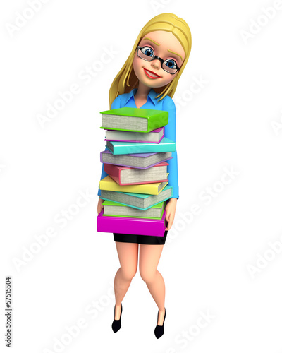 Young girl carrying pile of books