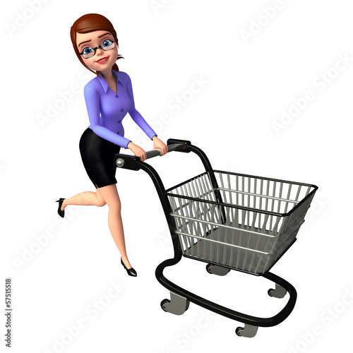 Young girl with trolley