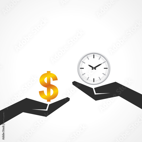 Hand hold dollar and clock symbol to compare their value