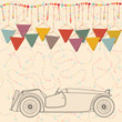 Happy birthday card, invitation, postcard with retro car, serpen