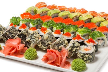 Traditional Japanese rolls of seafood of six types.