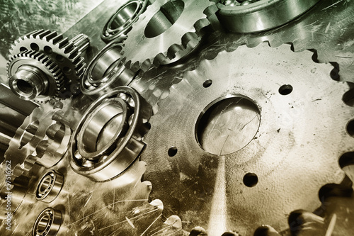 titanium and stainless-steel power, gears and cogs