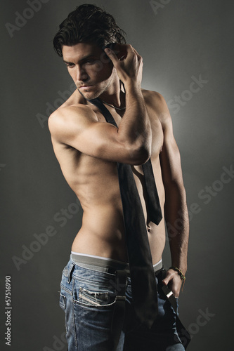 Studio shot of an handsome man shirtless