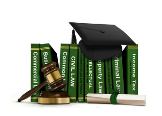 Law Books with Mortarboard and Scroll