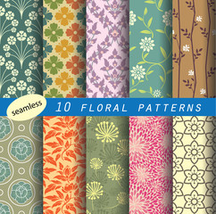 floral pattern collection for making seamless wallpaper