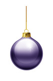 Violet christmas bauble isolated on white background