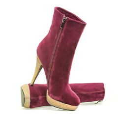 High heels ankle boots with golden heel and platform