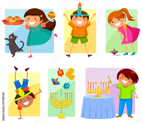set of happy children celebrating Hanukkah