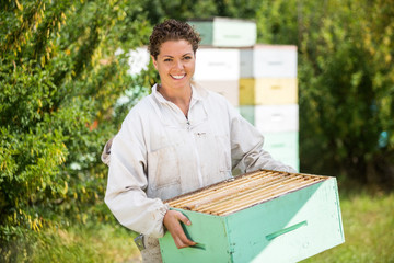 Female Beekeeper Carrying Honeycomb Crate
