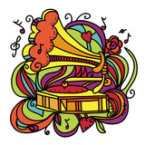 Colorful music background with the gramophone