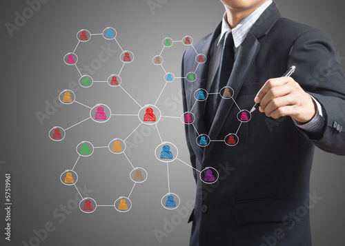 Business man drawing social network structure on a white board