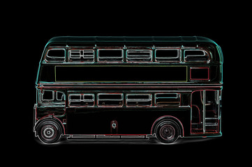 digitized retro london bus abstract on black