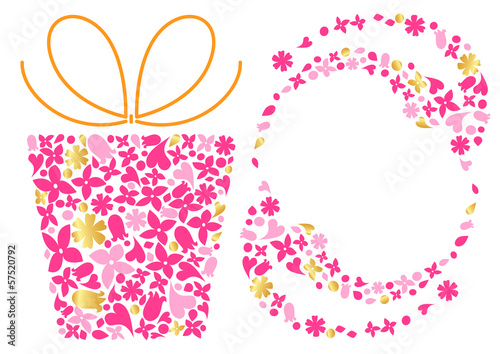 Decorative frame and gift box made ​​of many small flowers