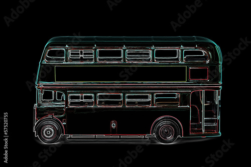 digitized retro london bus abstract on black Poster