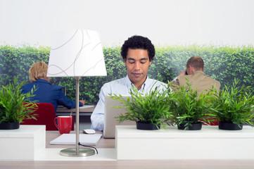 Business man at hot desk