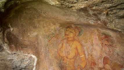 Frescoes of Sigiriya. Sri Lanka.