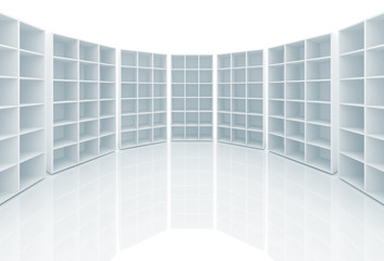Empty white cabinets with cells stand on white